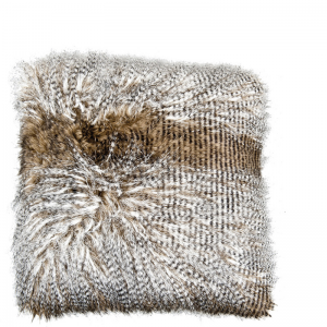 OSTRICH FUR PILLOW BROWN/WHITE 50X50