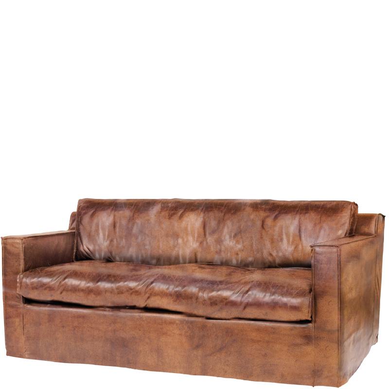 MEMPHIS SOFA 3 SEAT LEATHER BROWN