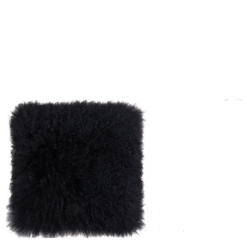 TIBETAN LAMB FUR PILLOW BLACK 40x40