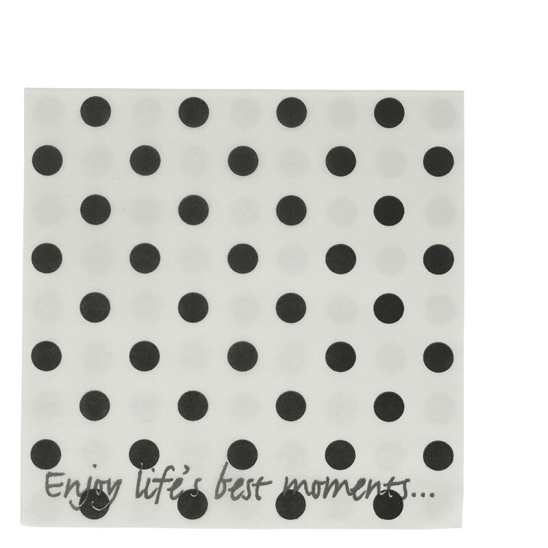 LS94 NAPKIN WHITE + BLACK DOTS