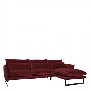 MILAN LOUNGE SOFA RIGHT SEVEN WINE RED