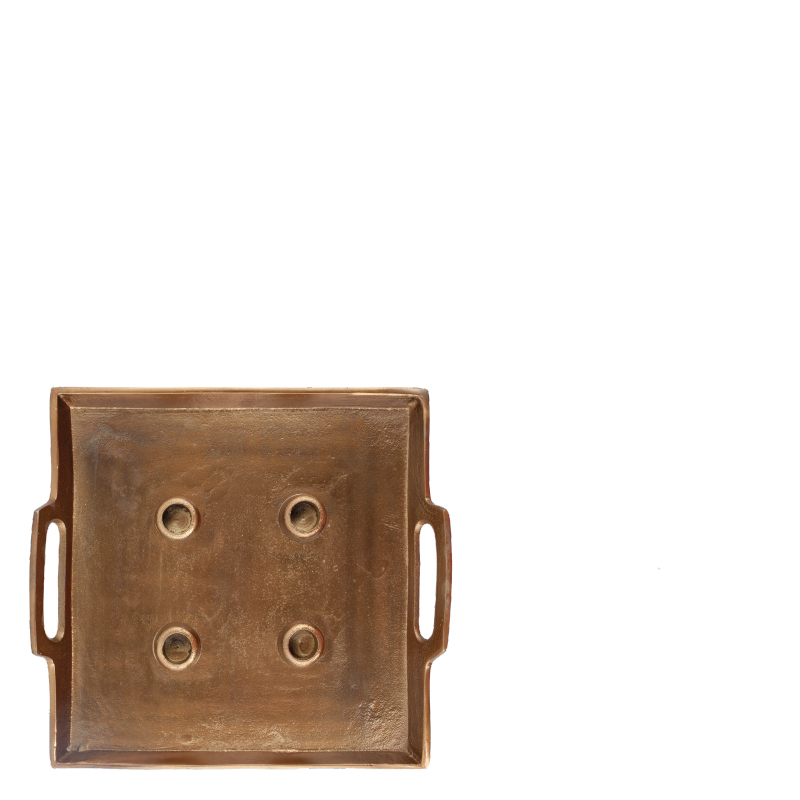 ALFEO SQUARE CANDLE HOLDER BRASS