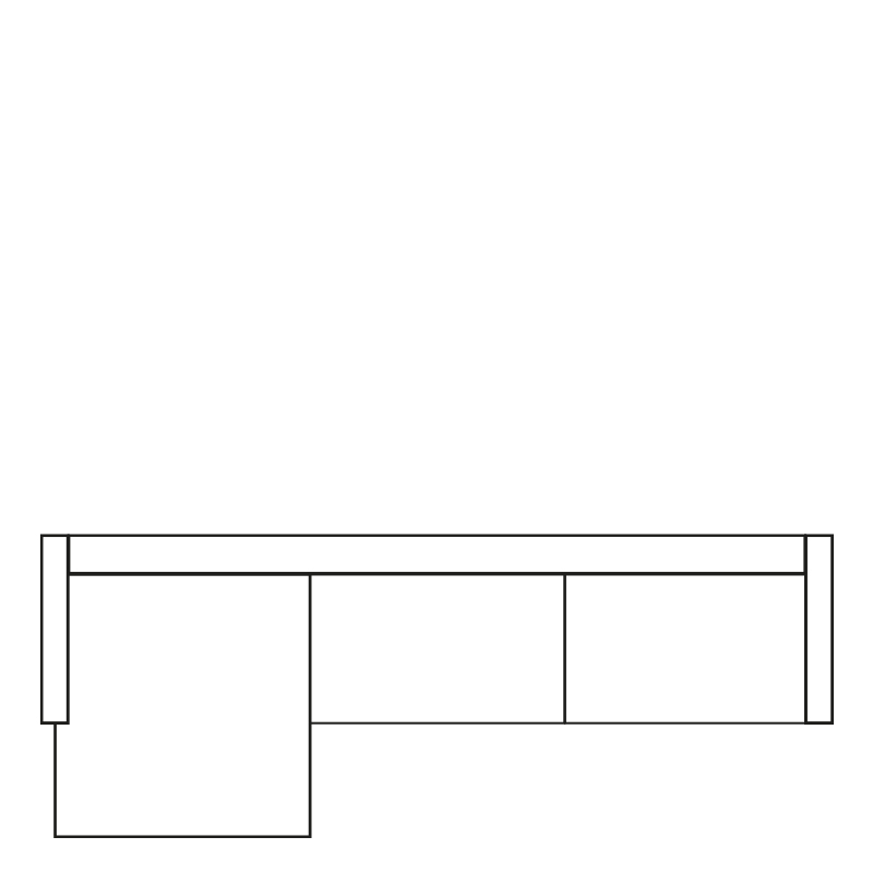 MILAN LOUNGE SOFA LEFT MERSEY ANTHRACITE 1 B-280/H-88/D-160