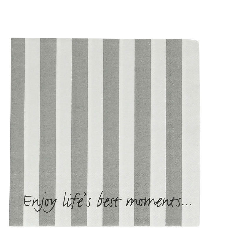 LS94 NAPKIN STRIPES GREY & WHITE
