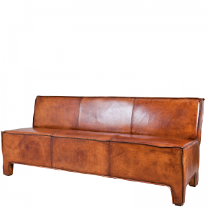 ASPEN DINING SOFA LEATHER BROWN
