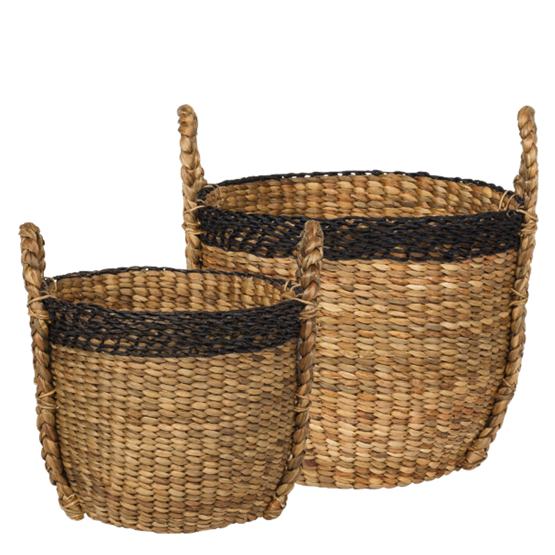 PALM BASKET NATURAL ROUND S/2 (125455/125456)