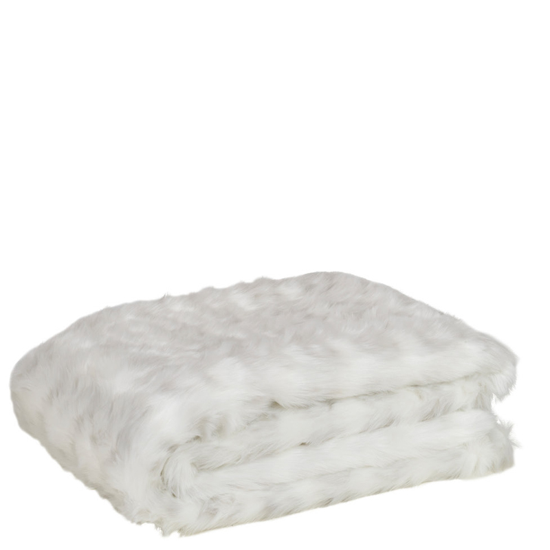 STOAT FUR PLAID WHITE 140X180