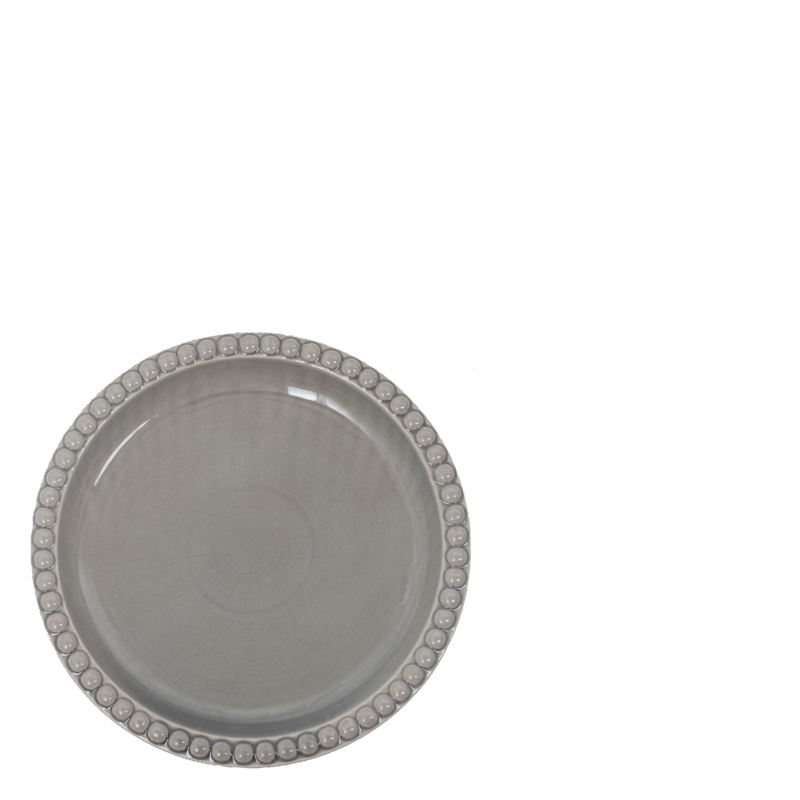DOTS CERAMIC PLATE GREY