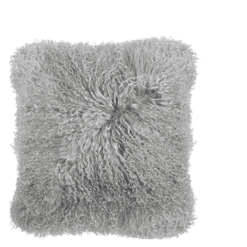 TIBETAN LAMB FUR PILLOW LIGHT GREY 40X40