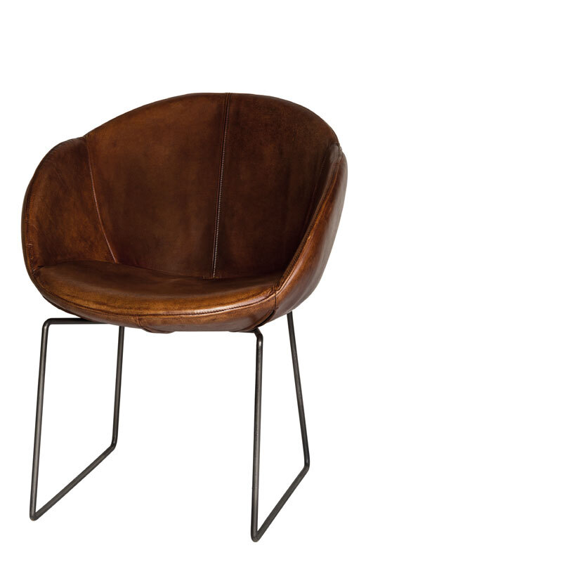 LOS ANGELES CHAIR LEATHER BROWN W-64/D-64/H-81