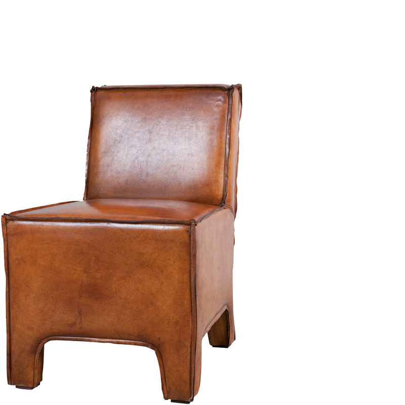ASPEN DINING CHAIR LEATHER BROWN