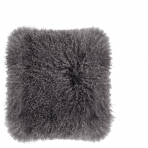 TIBETAN LAMP FUR PILLOW DARK GREY 40X40