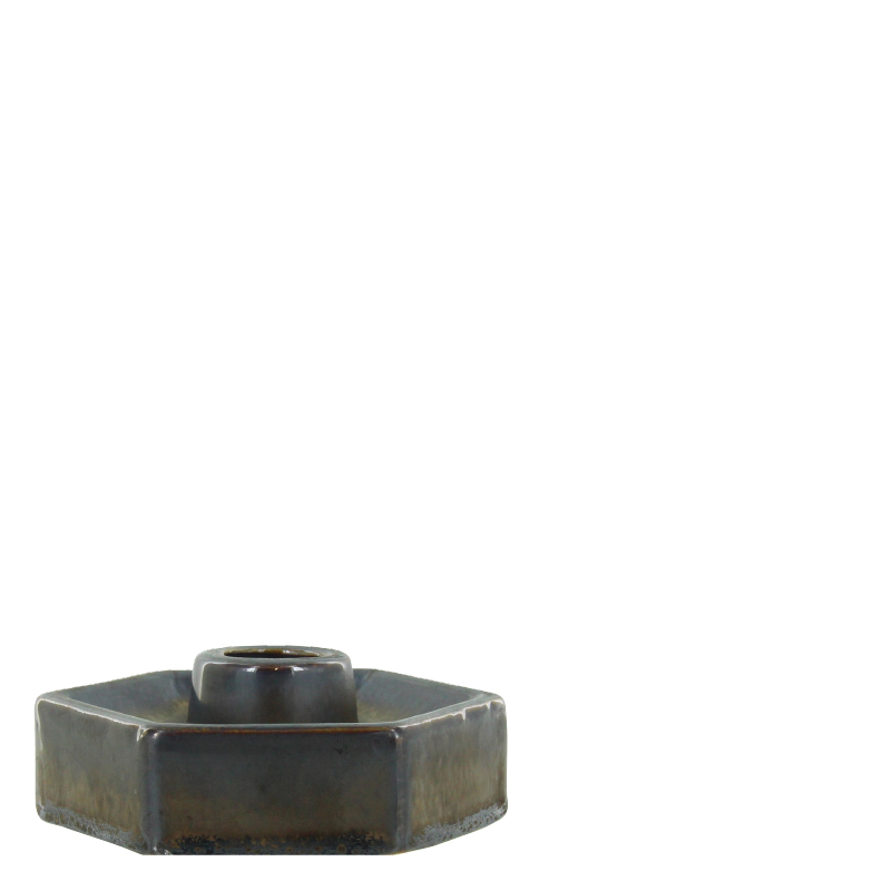 GINO FLAT CANDLE HOLDER GREY